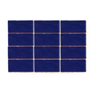 Plaqueta Cerámica Enmallada Paralelo Azul